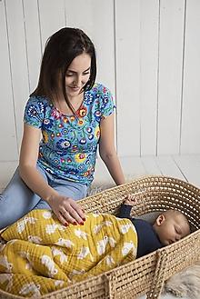 Tehotenské/Na dojčenie - Tričko na dojčenie Folk krátky rukáv - 11480240_