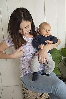 Tehotenské/Na dojčenie - Tričko na dojčenie Lila Krátky rukáv - 11480250_