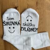 """Obuv - Motivačné maľované ponožky s nápisom: """"Som šikovná/ý / skúšku zvládnem"""" (biele) - 11481434_"""