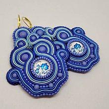 Náušnice - Modré soutache náušnice - 11481042_