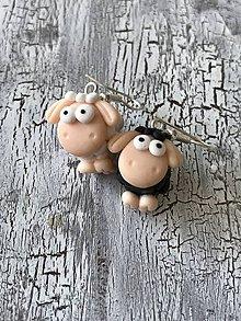 Náušnice - čierno biele ovečky - 11479373_