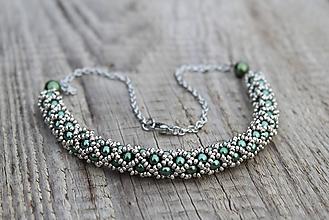 Náhrdelníky - náhrdelník dutinkový polovičný (náhrdelník zeleno-kovový) - 11483382_