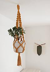 Nádoby - makramé držiak na kvet horčicový - 11483976_