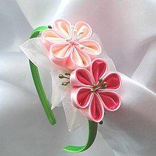 Detské doplnky - Čelenka pre dievčatko Ružové kvety - 11484449_