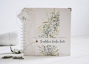 Papiernictvo - Svadobná kniha hostí - eukalyptus II 20x20 - 11484883_