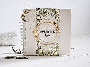 Papiernictvo - Svadobná kniha hostí - eukalyptus I 20x20 - 11484898_