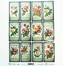 Papier - Ryžový papier na decoupage - A4 - R541 - ruže, noty - 11482994_