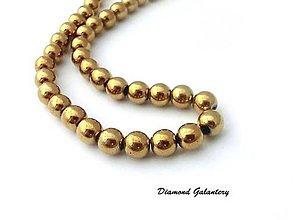 Korálky - Hematit korálky zlaté 8 mm - 11483958_