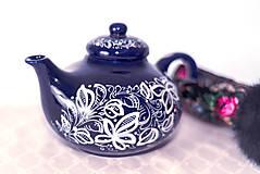 Nádoby - Kobaltový maľovaný čajník - 11482738_
