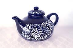 Nádoby - Kobaltový maľovaný čajník - 11482740_