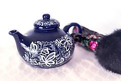 Nádoby - Kobaltový maľovaný čajník - 11482743_