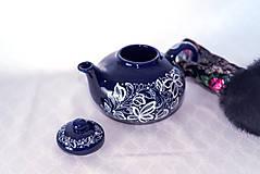 Nádoby - Kobaltový maľovaný čajník - 11482747_