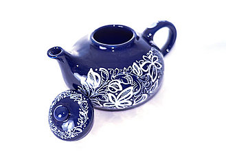 Nádoby - Kobaltový maľovaný čajník - 11482741_