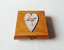 Krabičky - Drevená krabička Vtáčik - 11482736_