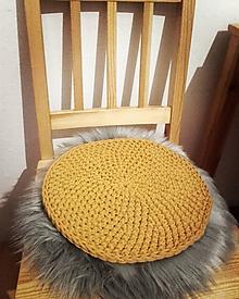 Úžitkový textil - Podsedák háčkovaný bavlnený  (Horčicová) - 11482906_