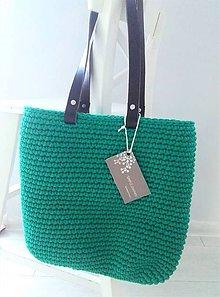 Veľké tašky - Háčkovaná shopperbag taška - smaragd - 11482459_
