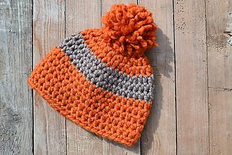 Čiapky - UNI čiapka 2 v 1 oranžovo-šedá - 11482649_