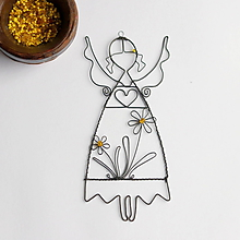 Dekorácie - anjelik s kvetmi - 11486302_