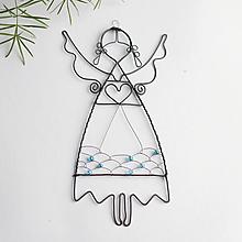 Dekorácie - anjelik s farebnou sukňou (Modrá) - 11486520_