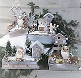 Dekorácie - Zimná dekorácia so sovičkou - 11487696_