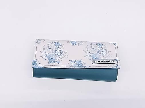 Priehradková peňaženka modrá ekokoža + Tilda ruže
