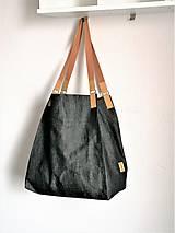 Veľké tašky - Čierna  džínsová maxi taška  - 11485678_