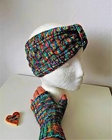 Rukavice - Set- široká čelenka + rukavičky- faire trade ručne farbená priadza - 11485505_