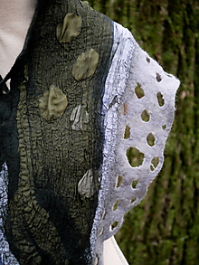 Šály - Vlnený dámsky šál s hodvábom- zelený - 11486433_