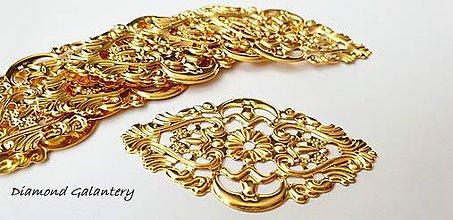 Komponenty - Filigrán 32x55 mm - zlato (Zlatá) - 11487628_