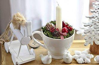 Dekorácie - Svietnik v pohári (Biela šálka hladká) - 11488050_