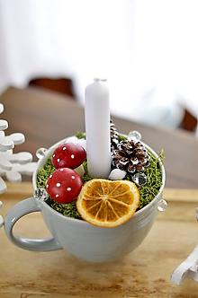 Dekorácie - Svietnik v pohári (Svetlošedá s jemným prúžkom) - 11488095_