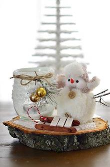 Dekorácie - Svietnik so snehuliakom - 11488164_