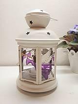 Dekorácie - Lampáš anjel fialový - 11486592_