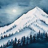 Obrazy - Originál akvarel Hory v zime - 11485760_