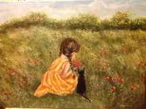 Obrazy - Dievčatko na lúke s čiernou mačičkou - 11474871_