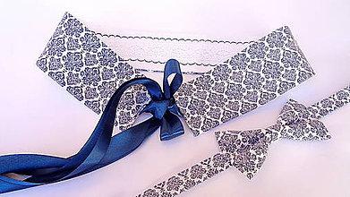 Opasky - Dámsky opasok folk ornament obojstranný s krajkou a výšivkou - 11486502_