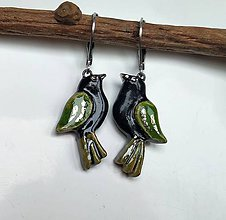 Náušnice - Vtáčiky štíhle - zelené - 11487005_