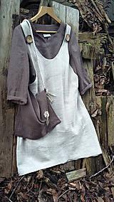 Sukne - Ľanová šatovka s čokoládovou tunikou - 11486029_