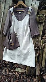 Sukne - Ľanová šatovka s čokoládovou tunikou - 11486031_