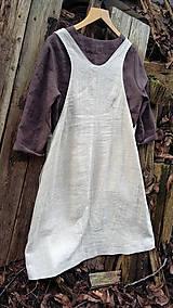 Sukne - Ľanová šatovka s čokoládovou tunikou - 11486036_