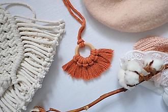 """Náhrdelníky - macramé náhrdelník """"na krúžku """"terakota - 11486768_"""