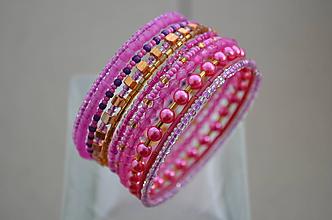 Náramky - Náramok ružové perličky - 11488260_