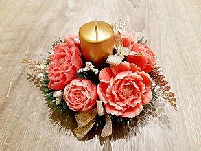 Drobnosti - Mydlová kytica so sviečkou - 11488365_