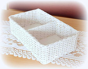 Košíky - Košík s prepážkou (35 x 22 v 10 cm  - Biela) - 11486432_