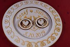 Prstene - Drevený podnos vankúšik na obrúčky gravirovaný 8 - 11485501_