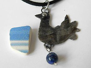 Náhrdelníky - Folk holubička s Lapis lazuli, tiffany - 11489428_