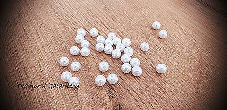 Korálky - Perličky biele (8 mm) - 11490672_