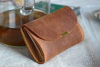 Peňaženky - Malá kožená peňaženka III. (Červenohnedá / hnedá, s hnedou nitkou) - 11490512_
