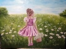 Obrazy - Dievčatko s margaretkami - 11490764_
