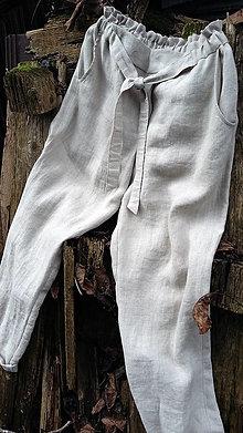 Nohavice - Dlhé ľanové nohavice naturálne - 11489147_